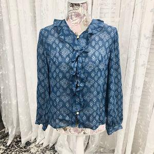 Liz Claiborne Blue Ruffle-Front Blouse